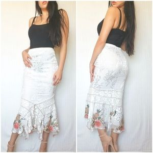 Vintage White Silk High Waisted Midi Maxi Skirt
